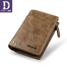 DIDE Top Brand Genuine Leather mens Wallets For Teenage Male Coin Purse Card Holder Short Clutch Wallet Vintage rivet design