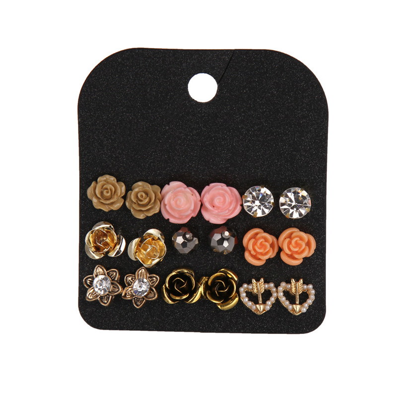 9 Pairs Claire Fashion Delicate Sweet Acrylic Rose Flower Stud Earrings Set Personalized Crystal Jewelry Accessories For Women