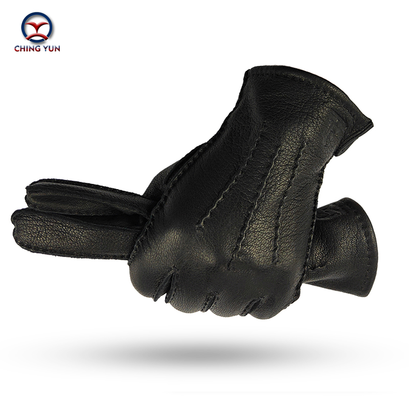 CHING YUN winter hand-stitched men's deerskin gloves deer skin men's warm soft men's black corrugated gloves 70% wool lining title=