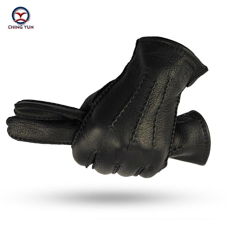 CHING YUN Winter Hand-stitched Men's Deerskin Gloves Deer Skin Men's Warm Soft Men's Black Corrugated Gloves 70% Wool Lining