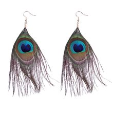 2019 Women Long Earring Fashion Handmade Peacock Feather Earring New Thailand Vintage Bohemian Jewelry Long Earrings(China)