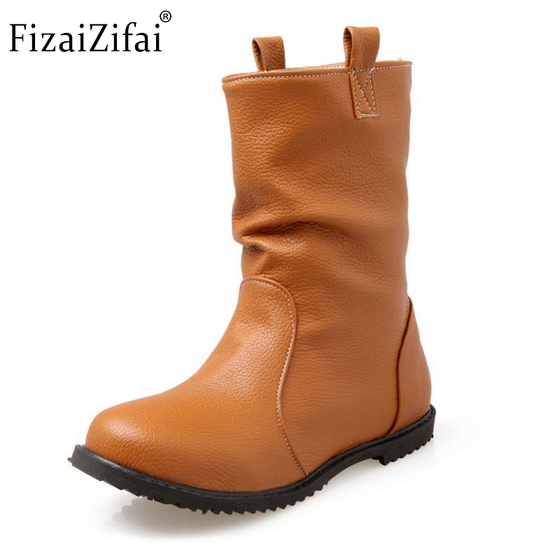 Calf Boots Footwear-Shoes Half-Short-Botines Round-Toe High-Quality Women New Comfort