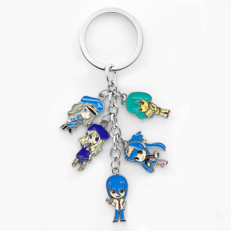 Halder Anime Macross Frontier Key Chains Cartoon Characters Sheryl NoKey Ring Round Holder Trinkets Pendant Bag Decorative