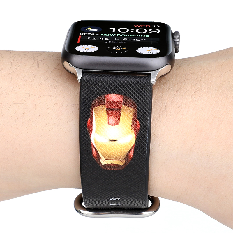 Marvel Heroes Soft PU Leather Band For Apple Watch Bands Series 4 3 2 1 Iron Man Leather Strap For Apple Iwatch 44mm 42 40 38mm