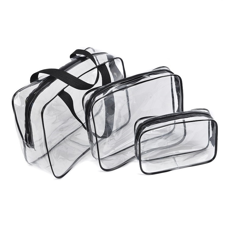 2019 New 3-pieces Set Bag Travel Transparent Clear PVC Makeup Cosmetic Toiletry Zipped Bags BS88