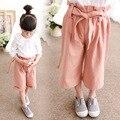 Novo Meninas Criança Primavera Coreano Crianças Calças de Algodão Crianças Calças Largas Casuais Rosa