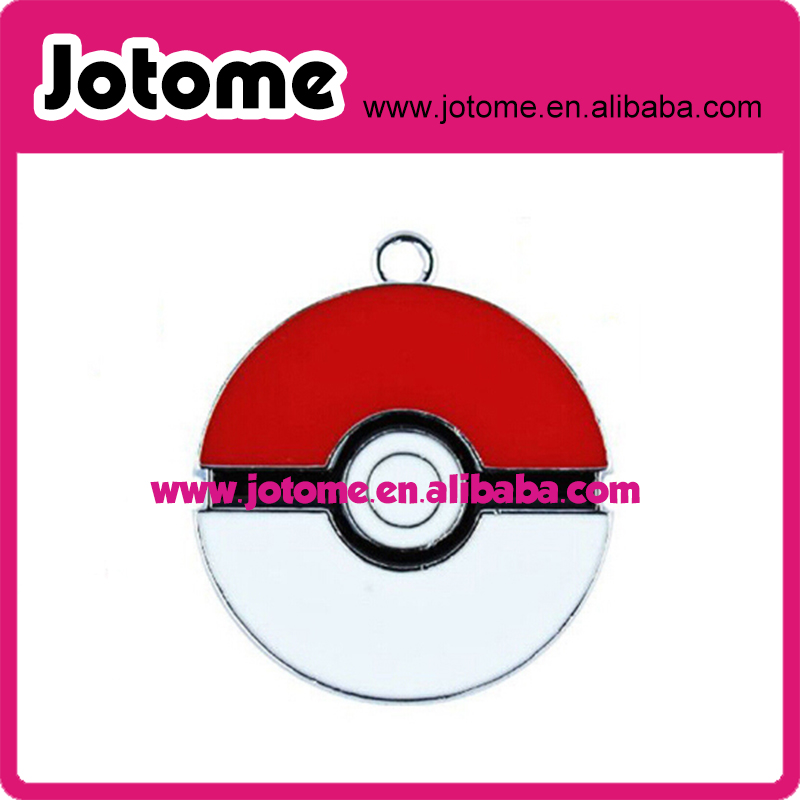 Custom make 32mm hot game pokemon go pokeball enamel pendant