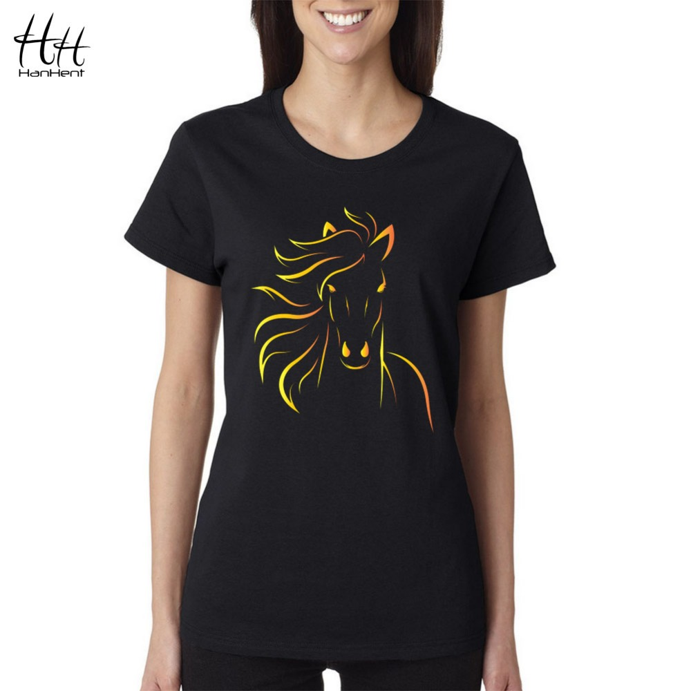 Design t shirt and print - Hanhent Brand Design Print Horse Women T Shirts 2016 New Fashion Summer Short Sleeve Tshirt Girls