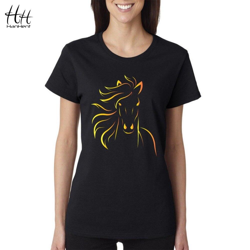 Shirt design brands - Hanhent Brand Design Print Horse Women T Shirts 2016 New Fashion Summer Short Sleeve Tshirt Girls