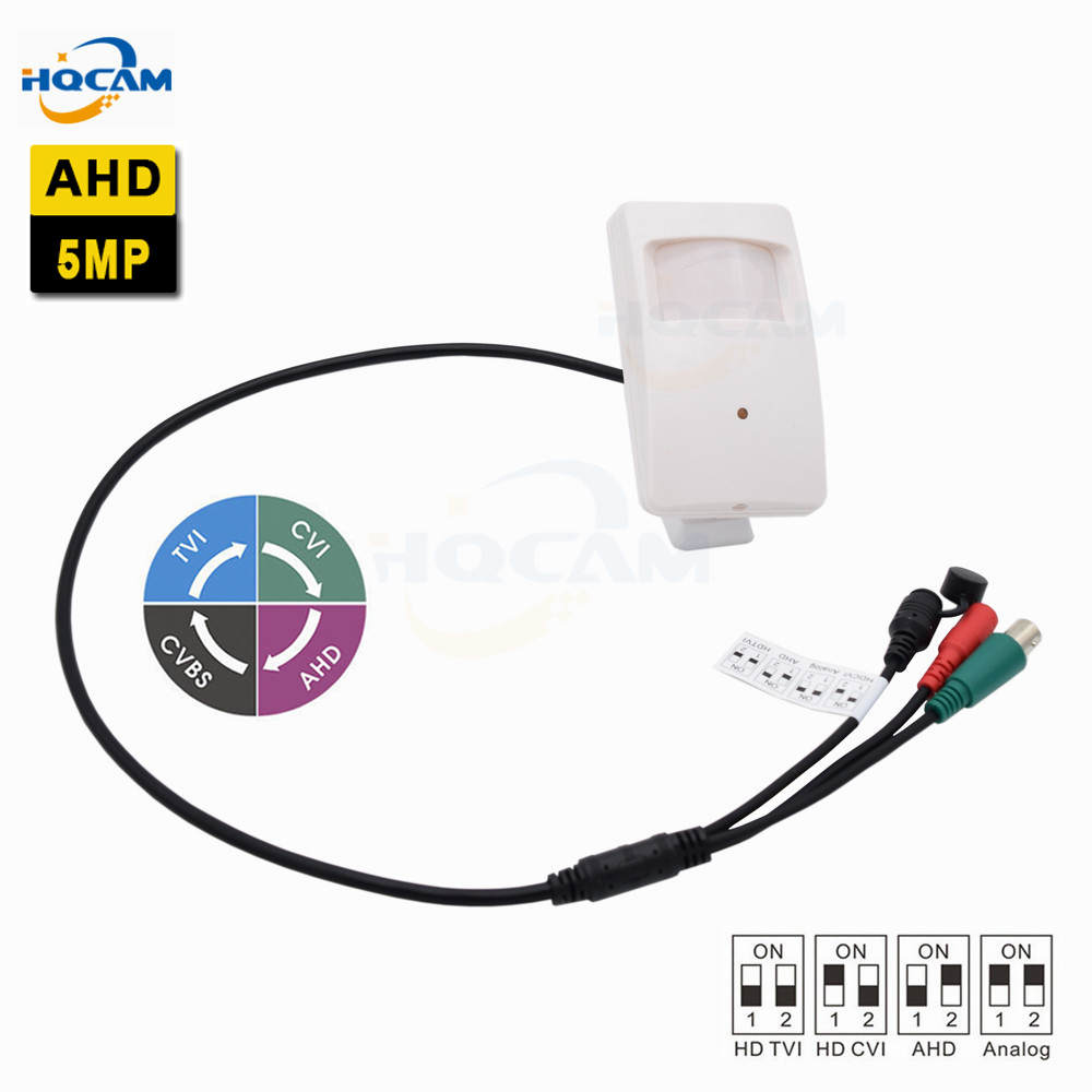 HQCAM Mini AHD Camera 5.0MP Camera Indoor Security CCTV Camera DIP switch 4 IN 1 AHD5MP/4MP,TVI5MP/4MP,CVI4MP,CVBS PIR Shell tlp627 1 dip 4 p627