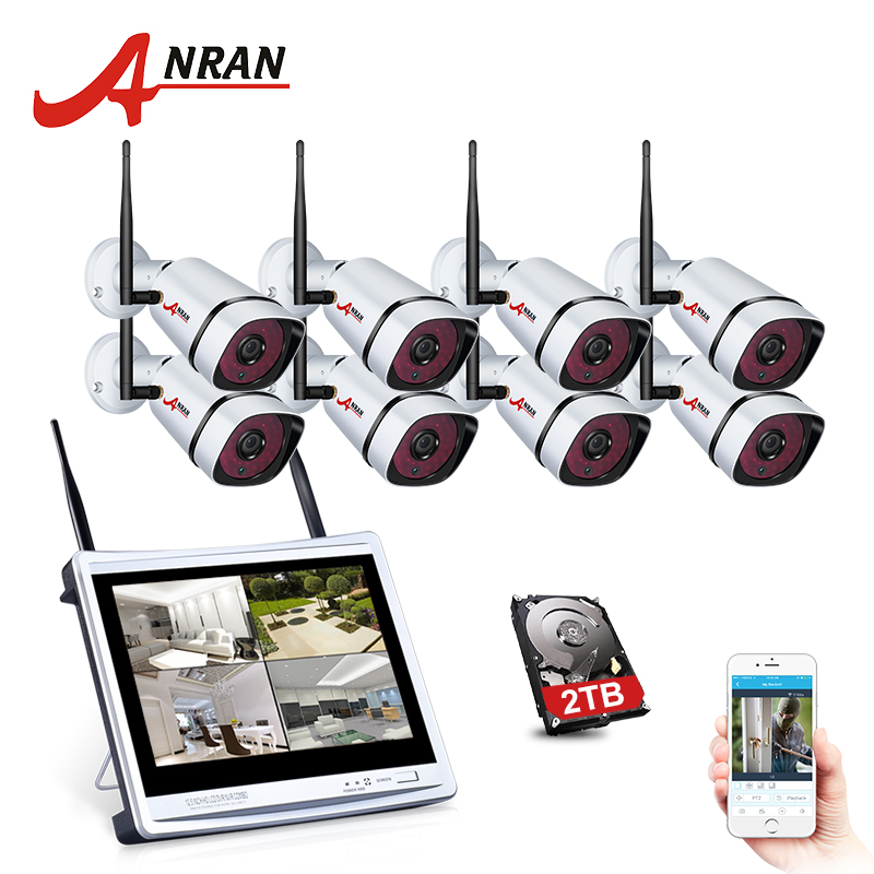 все цены на ANRAN New Plug& Play 8CH 12'LCD Screen WIFI NVR Security CCTV System 960P HD WIFI Camera Home Outdoor IR Video Surveillance Kit онлайн