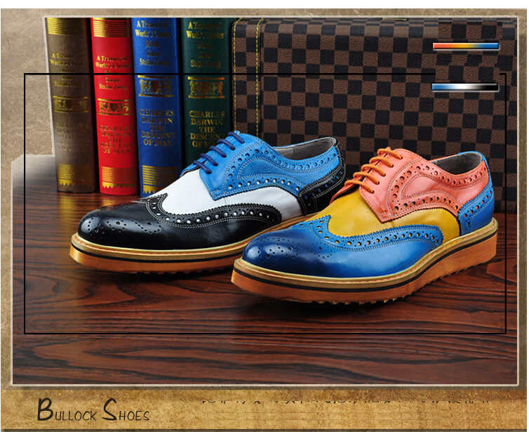 Branded Design Men's Casual Patent Full Grain Leather Oxfords Shoes Lace-Up Full Brogues Shoes Pointed Toe Fashion Mixed Color (8)