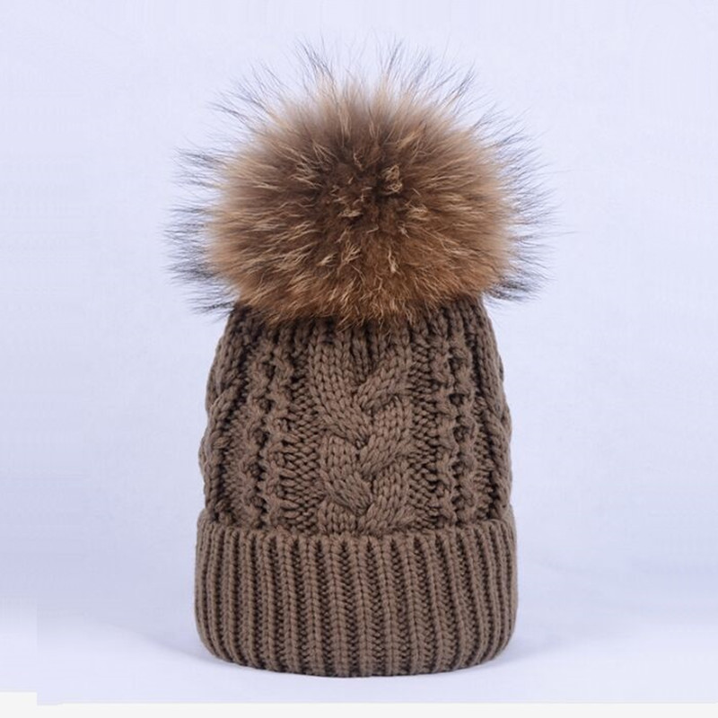 Women Twist Knitted Hat Caps With Thick Plush Velvet Winter Girls Natural Raccoon Fur pom pom Knit   Skullies     Beanies