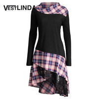 VESTLINDA Long Plus Size Lace Plaid Panel Top Tshirt Women 2017 Autumn Tops Fashion Loose Long