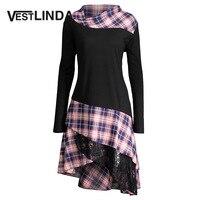 VESTLINDA ארוך בתוספת גודל משובצת פנל תחרה למעלה Tshirt נשים 2017 5XL גודל גדול סתיו חולצות האופנה Loose שרוול ארוך חולצות T