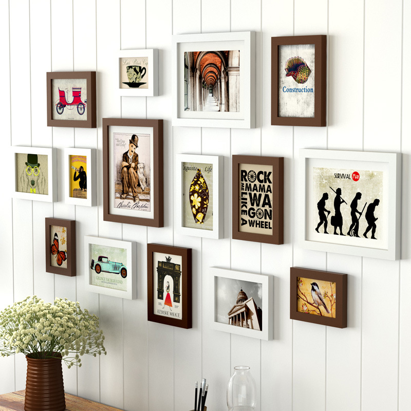 15pcs home decor chocolate white wall picture frame set. Black Bedroom Furniture Sets. Home Design Ideas