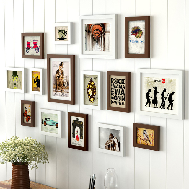 15pcs Home Decor Chocolate White Wall Picture Frame Set Wooden Photo