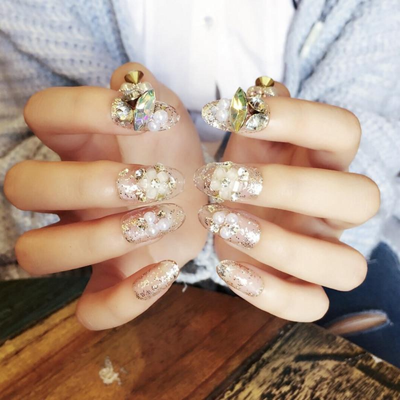 Wedding Clear Fake Nails Glitter Sequins Flower Designed Nail art ...
