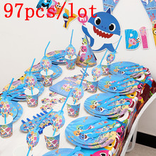 97Pcs Baby Shark Theme Cup Plate Napkin Kid Birthday Party Decoration Party Event Supplies Favor Items For Kids 10 People use