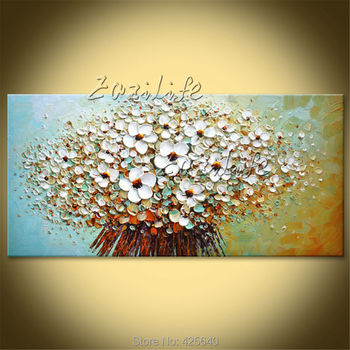 Flowers painting on canvas Wall art Pictures For Living Room quadros Cuadros decoration palette knife 3D texture acrylic floral