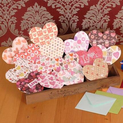 15pcs lot mixed design mini heart shape universal greeting cards