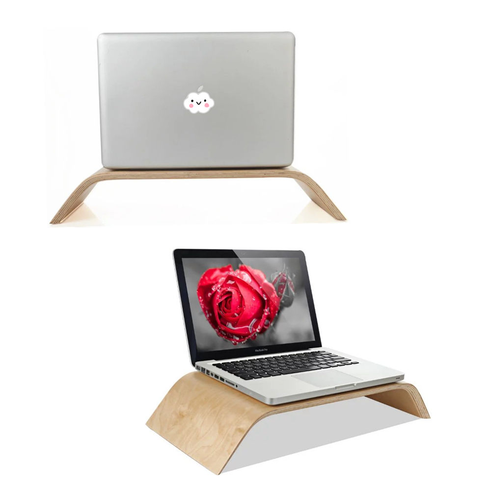 Wood Birch Computer Monitor Riser Stand Dock Holder For iMac Notebook Laptop PC wood stand holder