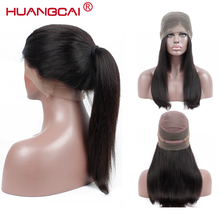 Huangcai Brazilian 360 Csipke Frontal Egyenes Emberi Haj Paróka Baby Hair Natural Color Remy Hair