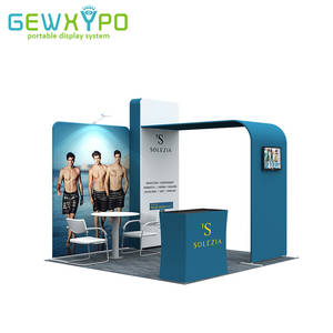 10ft*10ft Booth Size Portable Aluminum Tube Display Tension Fabric Backdrop Wall With Hard Case Podium And One LED Light