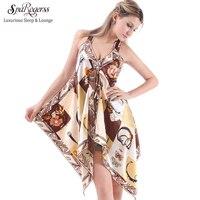 Спагетти ремень сексуальный Для женщин Ночные рубашки для девочек Мода 2017 г. Новый Стиль Женский сна Lounge платье женщина Home Silky халат yt7094