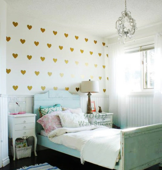 aliexpress : buy gold hearts wall sticker, removable home