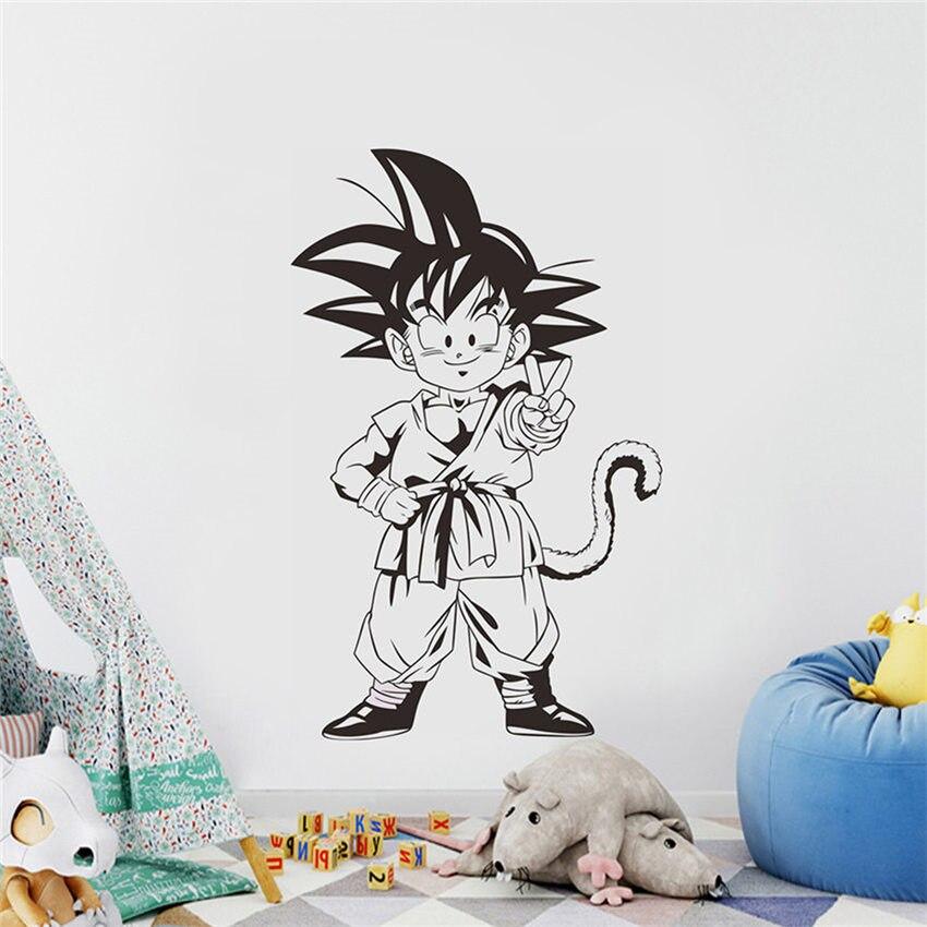 Dessin animé Dragon Ball vinyle Sticker Mural Anime enfants chambre décor pépinière Art Mural amovible dessin animé mignon Sticker Mural D586