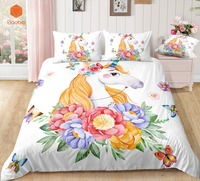 3D Flowers rainbow Unicorn Bedding Set Pillowcas Cartoon Bed Duvet Cover for Kids 3pcs Colorful Bedclothes Quilt CoverSj231