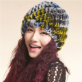 URSFUR Real Rabbit fur hat Multicolor Handmade Knitted Women Winter Beanies Cap  Female Hats Skull Caps 18 Colors
