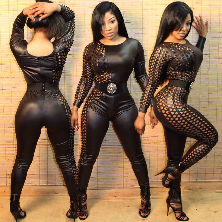 20980ae6e7 2016 elegant plus size Women Bodysuit Rompers Womens Jumpsuit Long sleeve  Full Length Black Leather Sexy Bodycon Jumpsuits