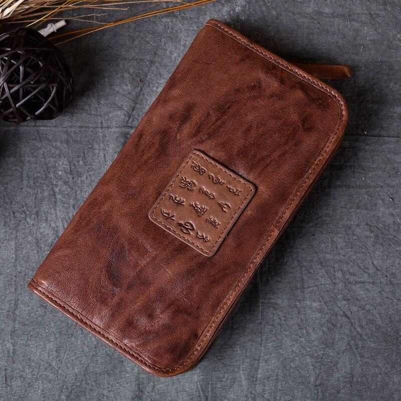 100% en cuir véritable peau de mouton Portomonee Vintage Walet homme portefeuille hommes Long embrayage avec porte-monnaie poche Rfid