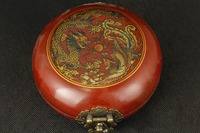Leather can collect old hand painted dragon phoenix compass, feng shui box