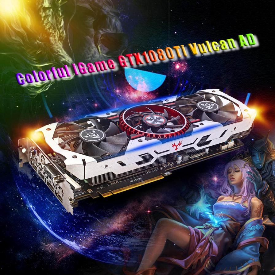 Pre Sale Colorful IGame GTX1080Ti Vulcan AD 11GB Video Graphics Card 1594 1708MHz ForNIER E21 Drop