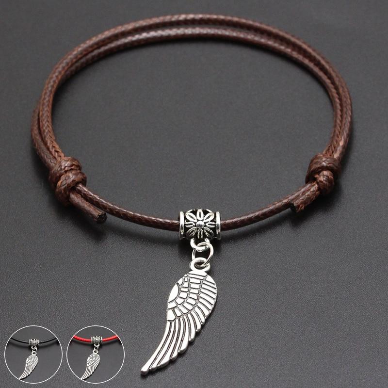 2020 New Angel Wings Pendant Red Thread String Bracelet Lucky Black Coffee Handmade Rope Bracelet for Women Men Jewelry