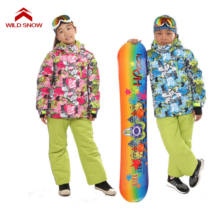 Wild Snow Boys Girls Ski Sets Winter Waterproof Windproof Kids Ski Jacket Children Outdoor Warm Hooded Snowboard Sports Suits children kids boys winter windproof padded jacket hooded jacket ski jacket high quality size 116 140