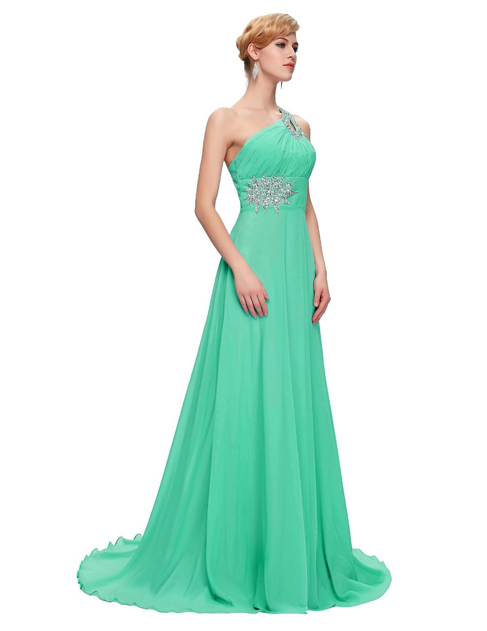 Elegant One Shoulder Long Bridesmaid Dress 11