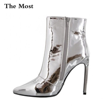 THEMOST Women Boots Fashion Platform punk high thin heels Ankle boots Plus Size33-48 Autumn Winter Zip Silver Casual Party shoes