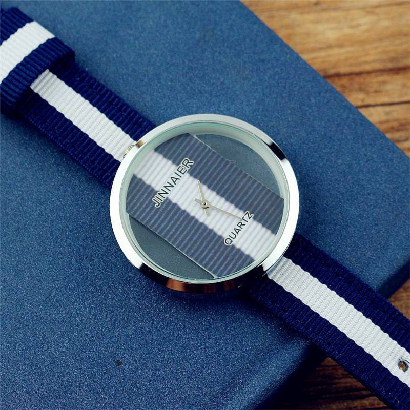 Luxury Brand Women Fashion Hollow Out Casual Quartz Watch Unisex High Quality Simple Dial Nylon Couple Watch