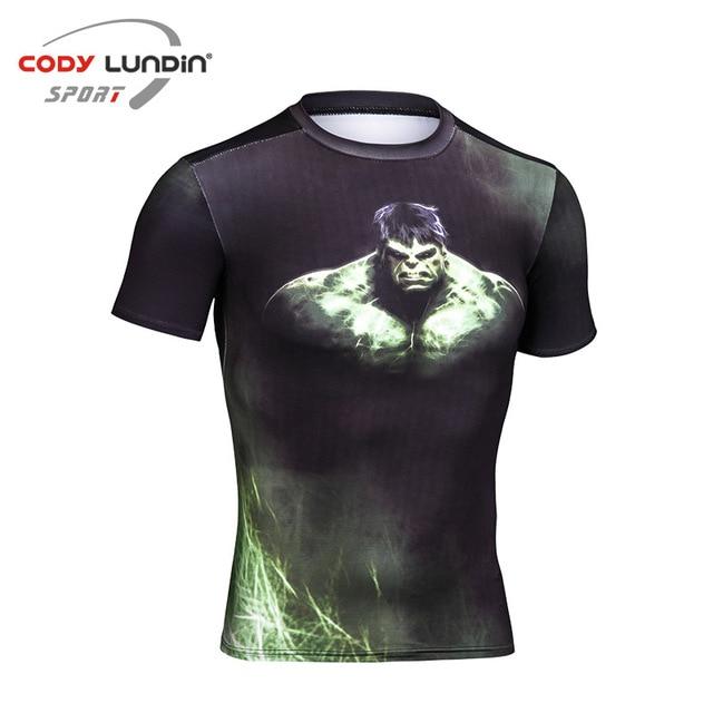 9d8972f64c O Hulk 3D Impresso Compressão Camisas Magros T Camisetas Mangas Curtas  Cosplay Traje de Fitness Musculação