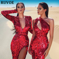 High Quality Sexy Deep V Neck Long Sleeves Straight Split Red Women Dress Sequined Bright Ladies