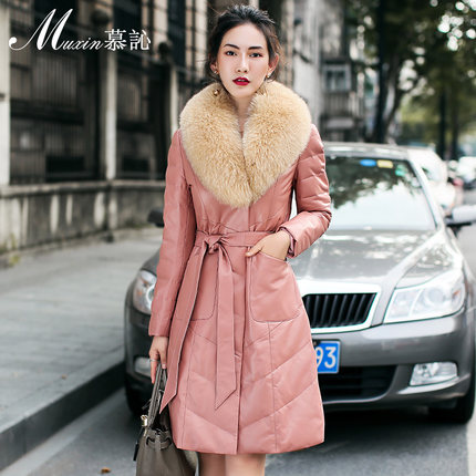 2016 new hot winter Thicken Warm woman Down jacket Coats Parkas Sheep leather fox Fur collar long plus size 3XXXL luxurious Pink 2016 new hot winter thicken warm woman down jacket coats parkas outerwear hooded fox fur collar luxurious long plus size 3xxxl