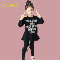 SOKOBX 2018 Spring Girls Sets Teen Printed Letter Dress+Solid Pants Kids Clothes Children Cute Clothing Sets Suits