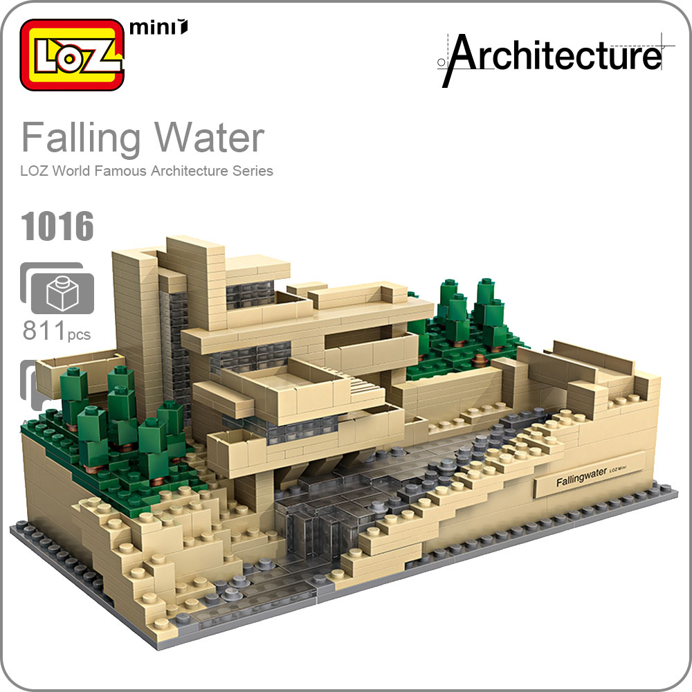 LOZ Toys Falling Water Villa Model Tree House Bricks Mini Bus