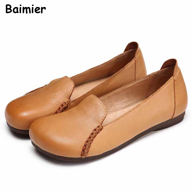Women Flats 2018 Handmade Fashion Spring Women Shoes Loafers Casual Soft Flat Female Comfortable Retro Shoes Ladies Flats eiswelt women flats shoes comfortable flat air mesh spring summer shoes female casual fashion slip on shoes for women flats