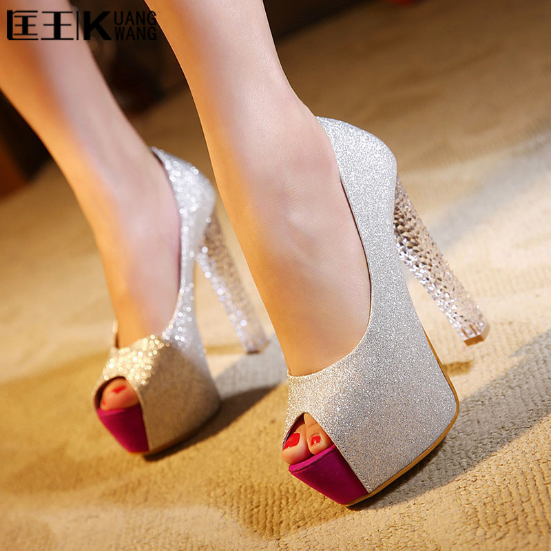 2017 Sexy Women Pumps High Heels Peep Toe Platform Shoes Woman High Heel Wedding Shoes Bride Wedge Ladies Shoes Silver avvvxbw 2017 spring women s pumps high heels platform shoes diamond peep toe thin heels sexy women s wedding shoes pumps c372
