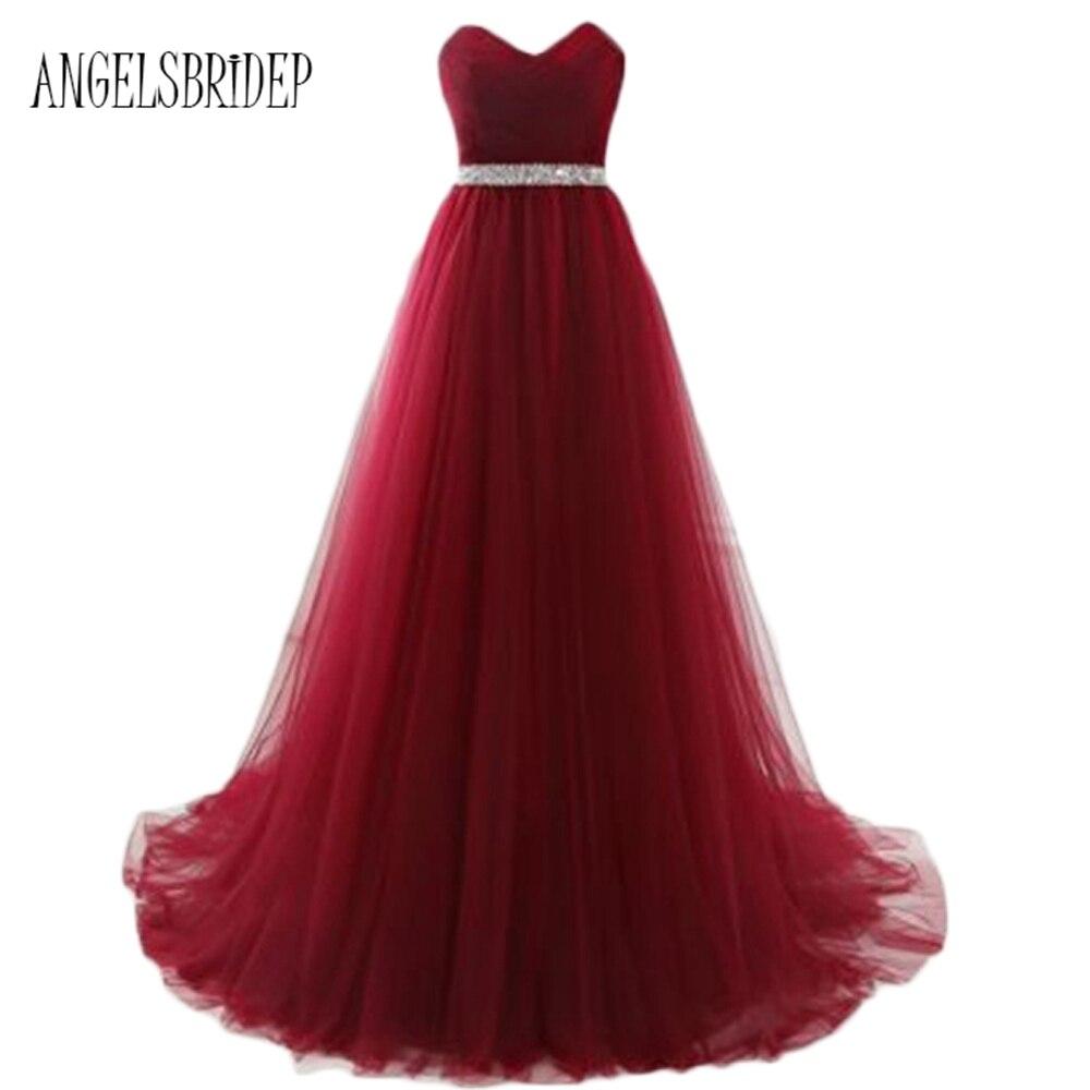 ANGELSBRIDEP Burgundy Royal Blue Prom Dresses 2017 Floor Length Tulle V Neck Women Evening Gowns Fast Shipping Party Dresses